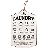 Funly mee Rustic Wooden Laundry Sign, Wall Hanging Laundry Guide Plaque,Laundry Room Wall Decor-15.8x10.6(in)