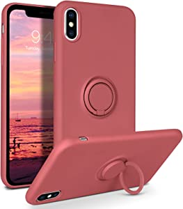 DOMAVER for iPhone Xs Max Case 360° Ring Holder Kickstand (Support Car Mount) Silicone Soft Rubber Microfiber Lining Cushion Protective Cover for iPhone Xs Max 6.5
