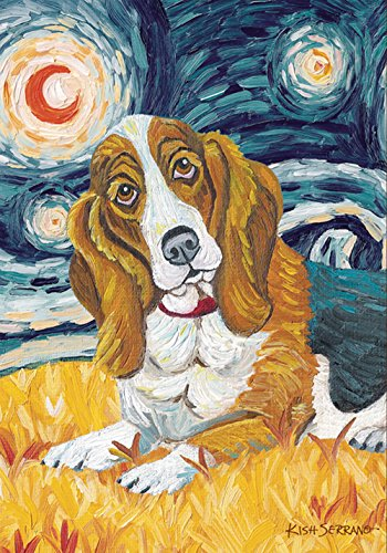 Garden Gretchen - Toland Home Garden Van Growl Basset Hound 12.5 x 18 Inch Decorative Puppy Dog Portrait Starry Night Garden Flag