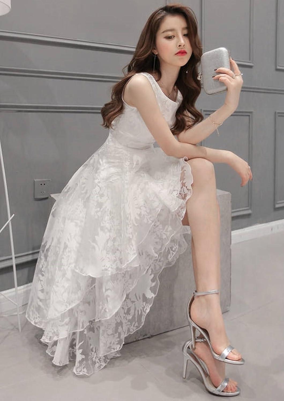 (ザデイアンドスノウ) TheDay&Snow 白 ドレス 発表会 花柄 レース フィッシュテール フレア スカート レディース (XL)