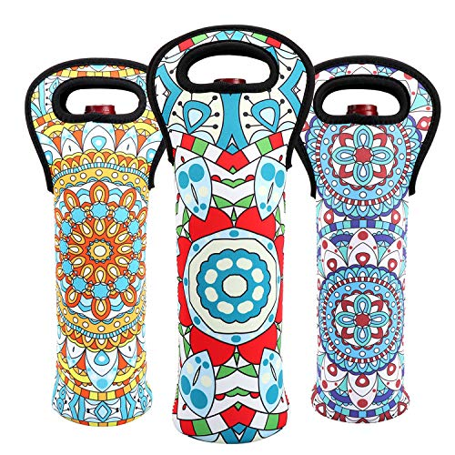 - Wine Carrier Tote Bag Durable Bohemian Flowers Neoprene Wine Carrier Bag Champagne Bottles Protective Travel Bag Geometric Stylish Bottle Holder for Safe Transportation (Bohemian-Set(3))