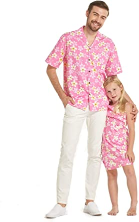 Hecho en Hawaii a Juego Padre Hija Hija Luau Camisa Chica Volante Vestido en Bonita Plumiera en Rosado: Amazon.es: Ropa y accesorios