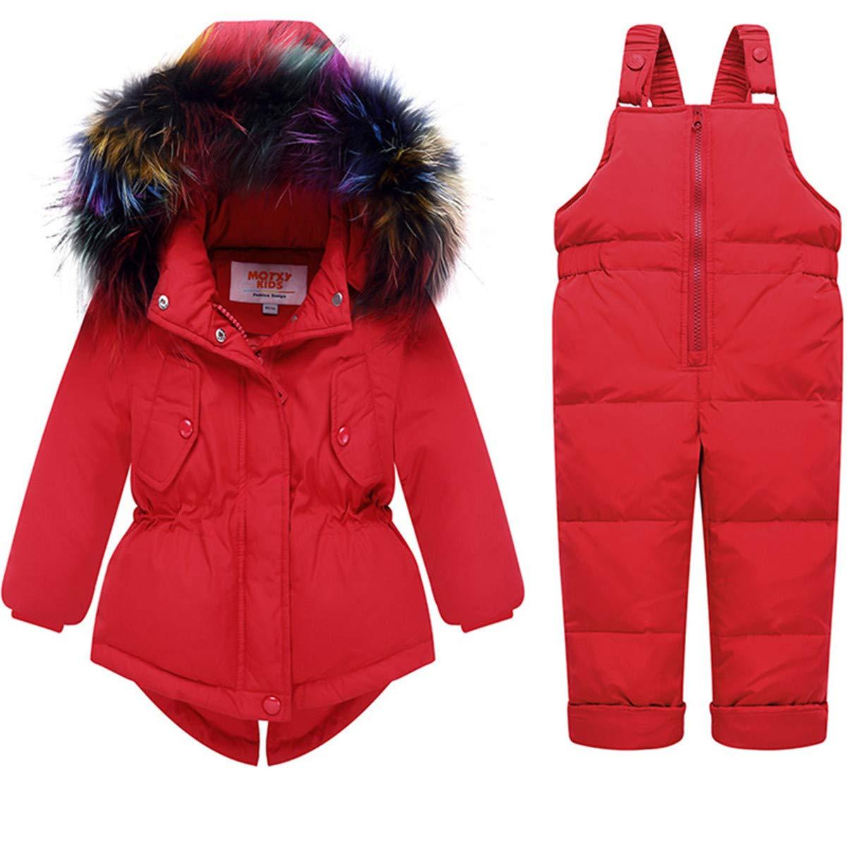 FAIRYRAIN Little Kids Baby Girls Two Piece Winter Warm Colorful Fur Trim Hooded Snowsuit Puffer Down Jacket Snow Ski Bib Pants Outfits Outwear pdfwj-t42