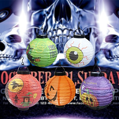Halloween Decorations Cute Paper Lanterns with LED Light, pack of 5(Eyes, Thin Witch, Fat Witch, Spider, Pumpkin) Battery Powered, Recycled, Papery, Easy Installation Kids Adult (Fat Halloween Witch)