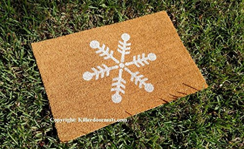 Winter Snowflake Custom Handpainted Seasonal Holiday Welcome Doormat by Killer Doormats - Large