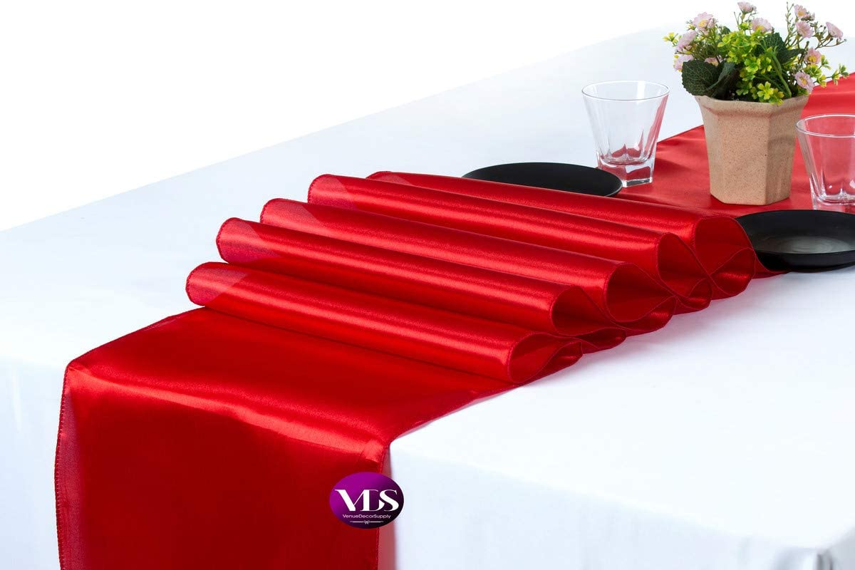 VDS Table Runner Charmeuse Satin Table Decoration for Wedding Events Party Décor (Pack of 10 Red)