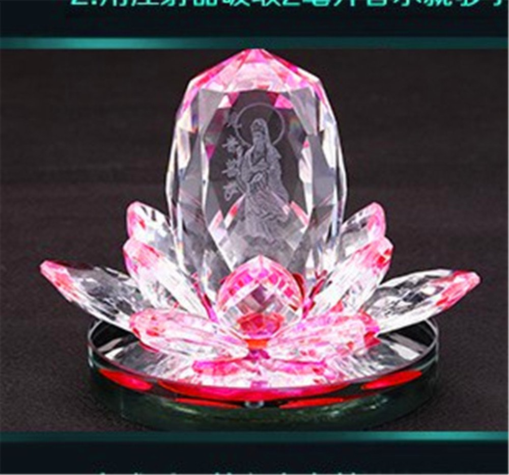 Crystal Lotus Flower Figurines Perfume Bottle Feng shui Car Decorative Glass Craft Scent Machine Flavoring in the car (蓝) taiyuan