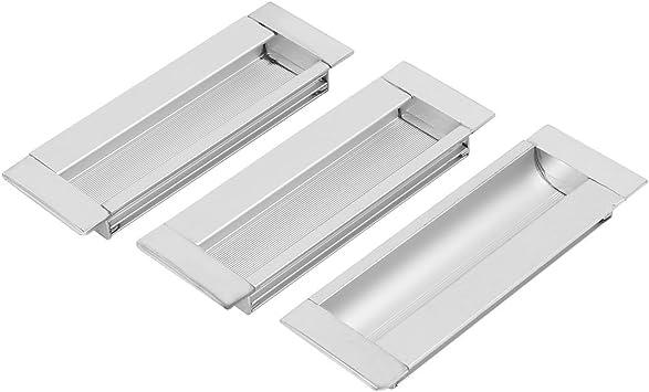 sourcing map Armario Empotrado de Aluminio de la Puerta del Cajón rectangular Tirador Empotrado 3pcs: Amazon.es: Bricolaje y herramientas