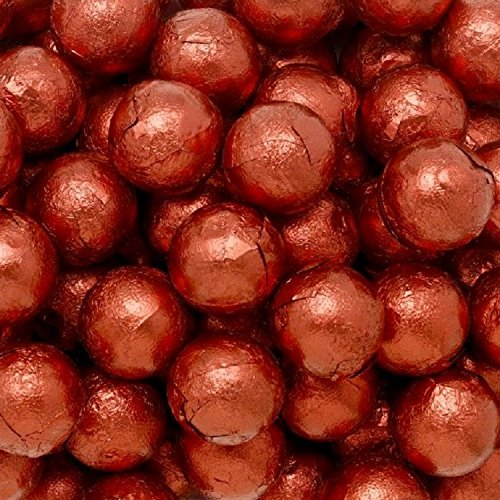 Individually Wrapped Foil Covered Chocolate Caramel Balls in a Variety of Colors - Bulk Wholesale (Red, 2 Pounds)