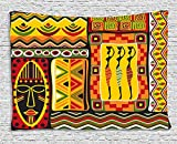 African Collection African Elements Decorative Historical Original Striped and Rectangle Shapes Artsy Work Multi Supersoft Throw Fleece Blanket 49.21x78.74 Inches