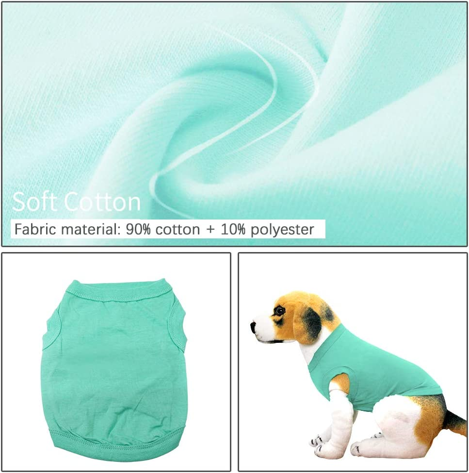 YAODHAOD Solid Color Dog T-Shirts Clothes XL, Dark green, white, black, pink Cotton Shirts Soft and Breathable Dog Shirts Apparel Fit for Small Extra Small Medium Dog Cat 4pcs