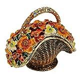 Flowered Basket Pewter Figurine Box - Swarovski Crystal, Jewelry Box, Keepsake Gift