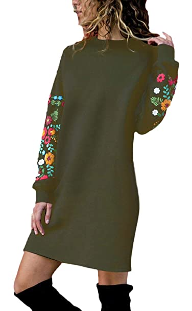 Vestidos Mujer Cortos Vintage Elegantes Florales Pullover Sudadera Vestido Fiesta Manga Larga Anchos Cuello Redondo Fashion Mini Vestido Vestido De Verano ...