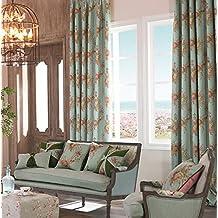 "IYUEGOU Mediterranean Print Cotton Multi Floral Energy Saving Grommet Top Curtain Draps 72"" W x 96"" L (One Panel)"