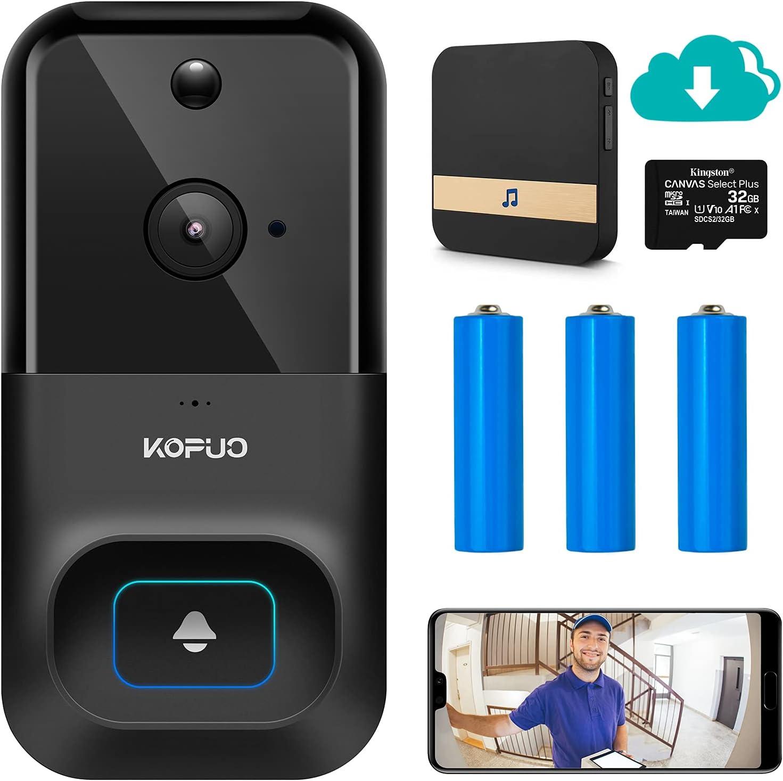 KOPUO Video Doorbell Camera - 1080P Indoor Wireless Cam - 2-Way Audio Intercom - WiFi Motion Detection Alerts - Rechargeable Battery - IR Night Vision - IP66 Waterproof - 32G Card/Cloud Storage