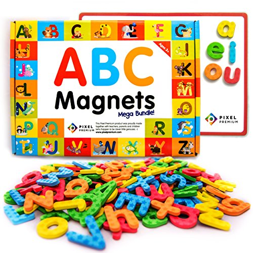 Pixel Premium ABC Magnets for Kids Gift Set - 142 Magnetic Letters for Fridge, Dry Erase Magnetic Board and FREE e-Book with 40+ Learning & Spelling Games - Best Alphabet Magnets for Refrigerator Fun!