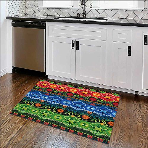 """Bathroom Rug Carpet Tribal seamless pattern It can be used for cloth,jackets,bags,notebooks,cards,envelopes Anti Bacterial,Latex W39"""" x H16"""""""