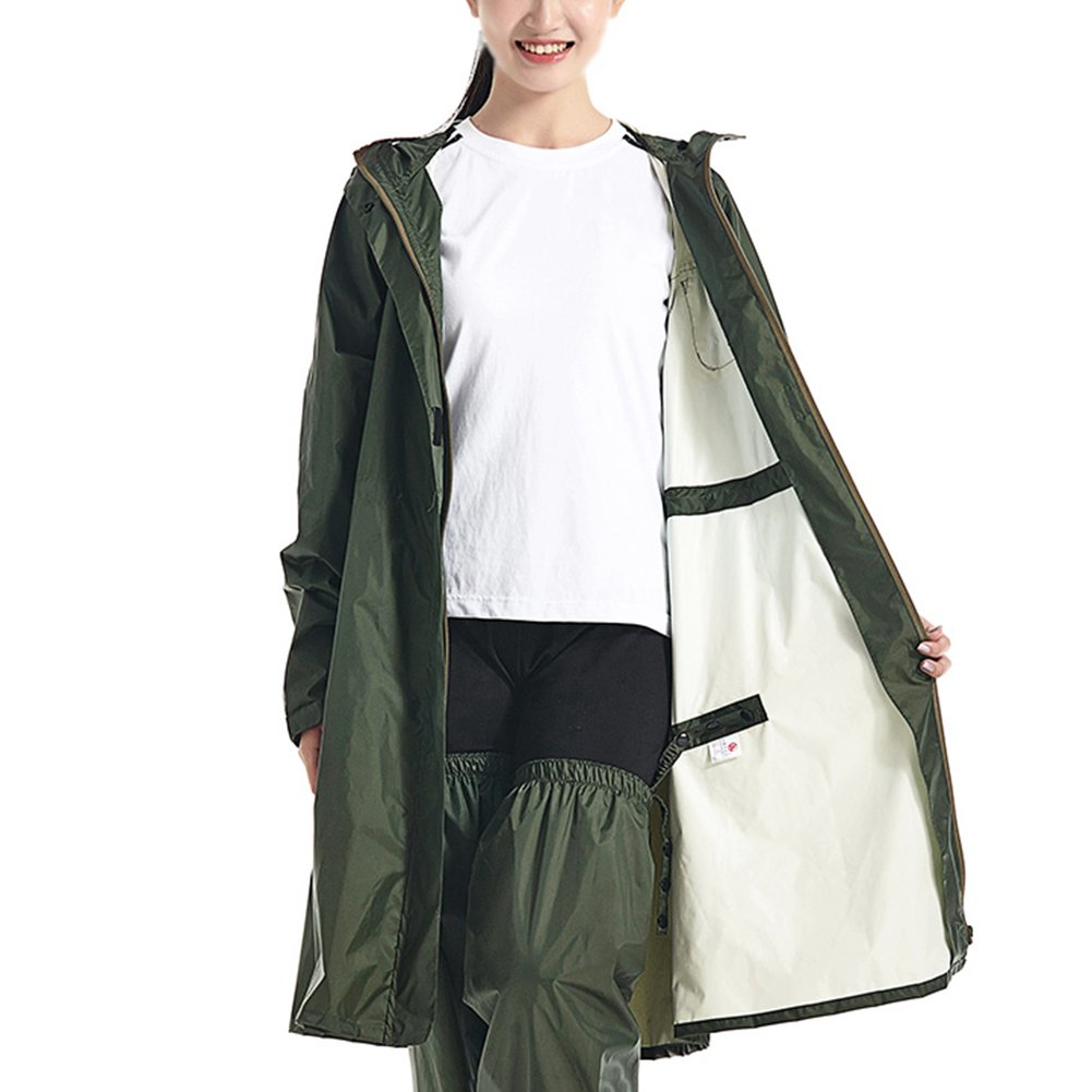 Green 2  ZEMIN Rain Jacket Coat Raincoat Poncho Jacket Sun Predection Waterproof Hat Eaves with Pants Cover Trekking Riding Thin and Light Female, 4 colors 2 Size Waterproof (color   Green 2 , Size   M)