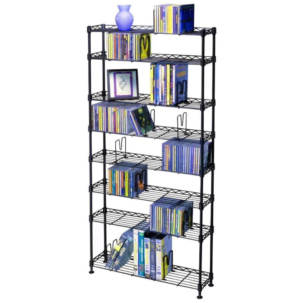 BS Media Bookcase DVD Storage CD Cabinet Rack Case Shelf Tower Holder Book Disc Low Tier Organizer for Bedroom Living Room & eBook by BADA Shop