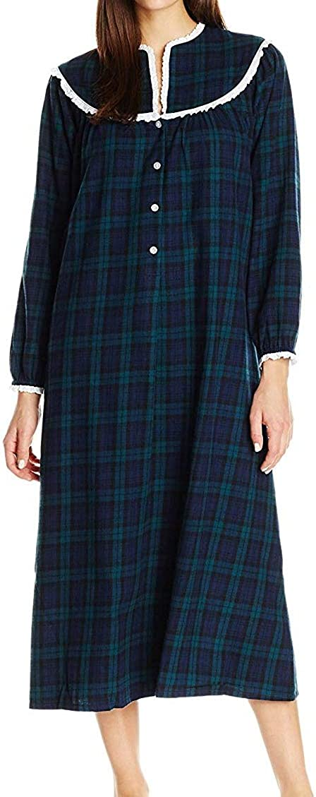 AmeriMark Womens Flannel Long Nightgown w//Eyelet Lace Trim Neckline /& Buttons