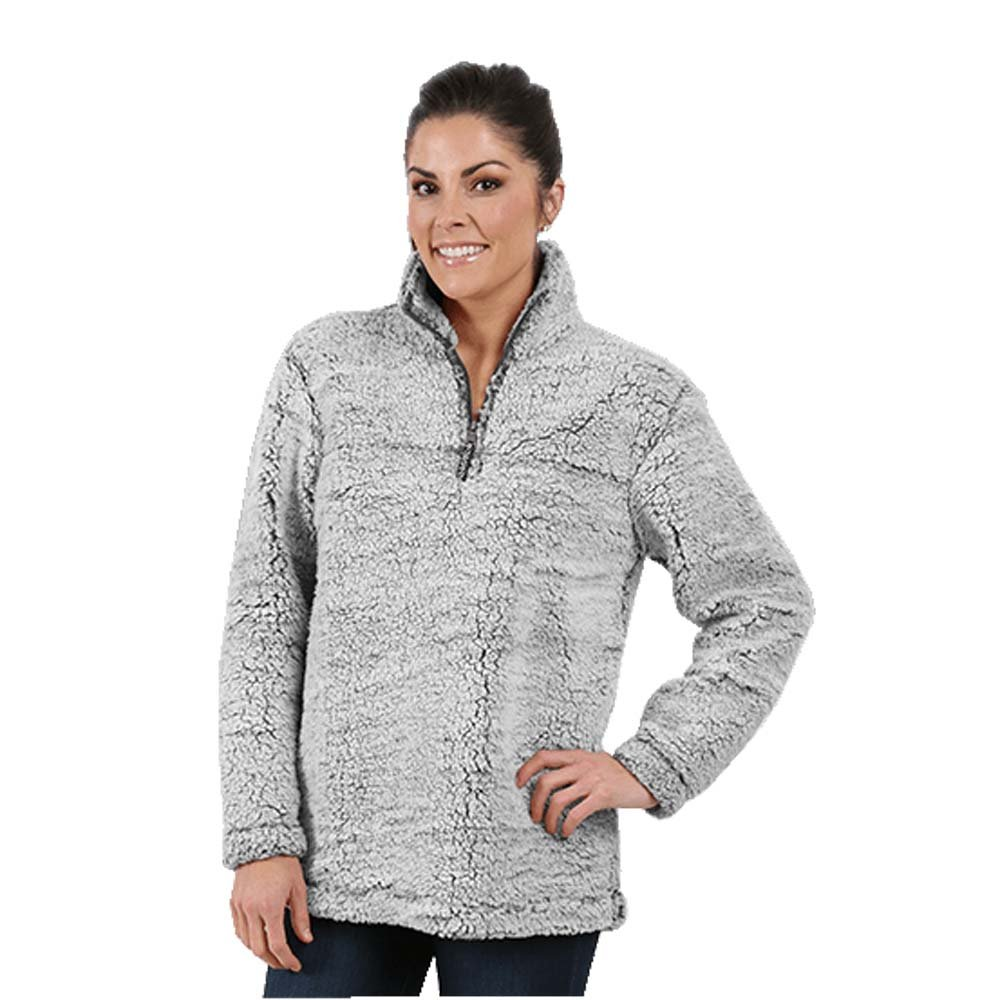boxercraft Adult Super Soft 1/4 Zip Sherpa Pullover-Smokey Grey-Small