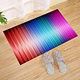 JANNINSE Modern Rainbow Gradient Vertical Stripes Small Door Mat, Red Navy Blue Green, Household Items Printed With Geometric Patterns And Non-Slip Washable Doormats, 18'' X 30'' Inches
