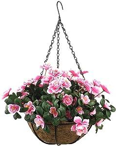Lopkey Outdoor Artificial Red Azalea Bush Flower Patio Lawn Garden Hanging Basket with Chain Flowerpot,Pink