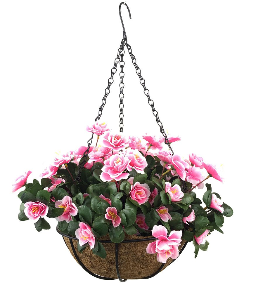 silk flower arrangements lopkey outdoor artificial red azalea bush flower patio lawn garden hanging basket with chain flowerpot,pink