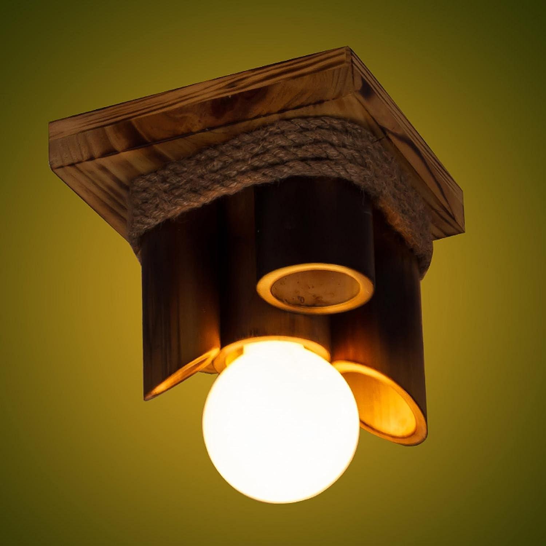 AMZH Natural de bambú Carpenter Hecho a Mano para completar la lámpara de Techo LED 20VM * 25CM 110v-220v E27
