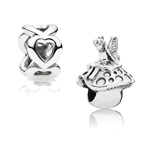 Original Pandora Geschenkset - 1 Silber Charm Zauberfee 791734 und 1 Silber Zwischenelement Offene H...