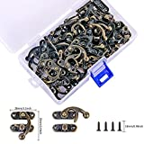 PGMJ 40 Pieces Bronze Tone Antique Right Latch Hook Hasp Horn Lock Wood Jewellery Box Buckle Clasp and 160 Replacement Screws (Right Latch Buckle)
