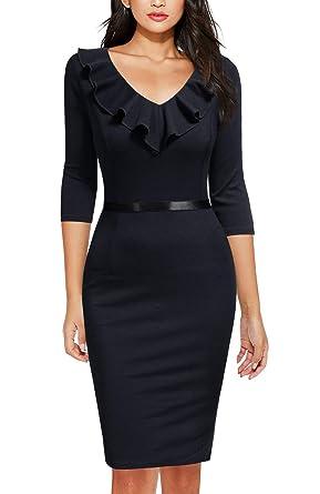 c6fa40341c112 REPHYLLIS Women's Ruffles Short Sleeve Business Cocktail Pencil Dress Black  S