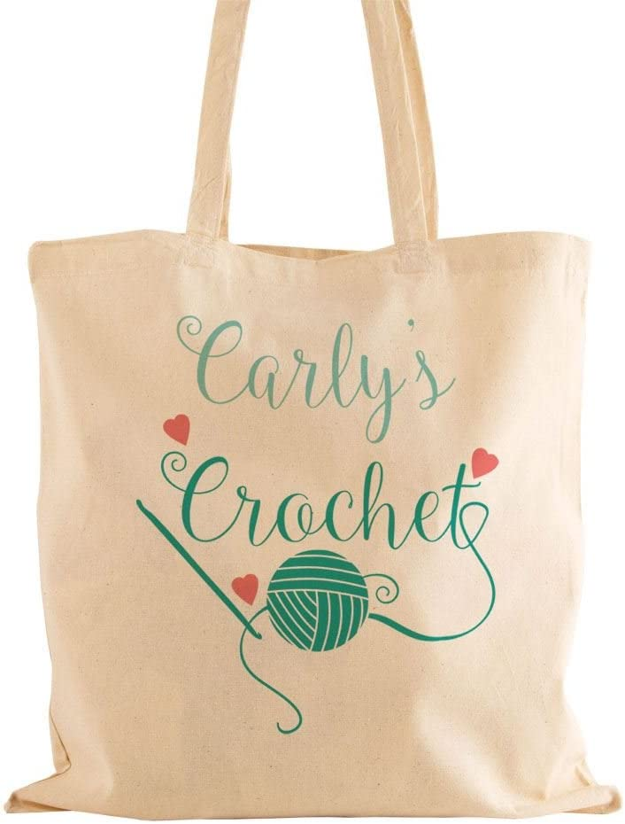 Ideal GIFT for Mother/'s Day Xmas Personalised Knitting Bag with Black Handles
