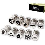 BMC - Set de 10 pendientes/piercings tipo barbell para hombre - Acero inoxidable - 8 mm - Dise?os mixtos