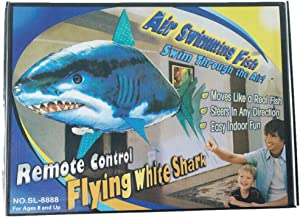 La Dran 1PCS Remote Control Flying Air Shark Toy RC Helicopter Inflatable with Helium Fish Plane Clown Fish Balloons Robot Gift for Kids Shark with Box