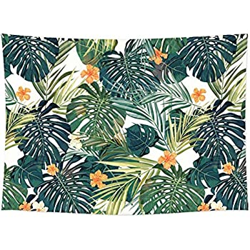 Tropical Palm Leaves Flower Decor Tapestry Pattern/Woven Couch Palm Tree Decor Hippie Hanging Wall Decor, Beach Throw, Table Runner (RB-TPL-2)(W:79