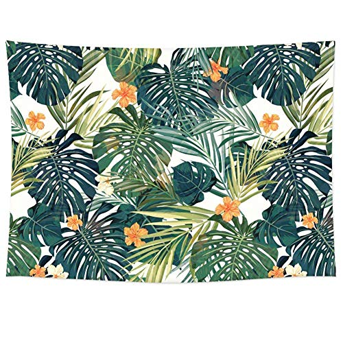 (Tropical Palm Leaves Flower Decor Tapestry Pattern/Woven Couch Palm Tree Decor Hippie Hanging Wall Decor, Beach Throw, Table Runner (RB-TPL-2)(W:79
