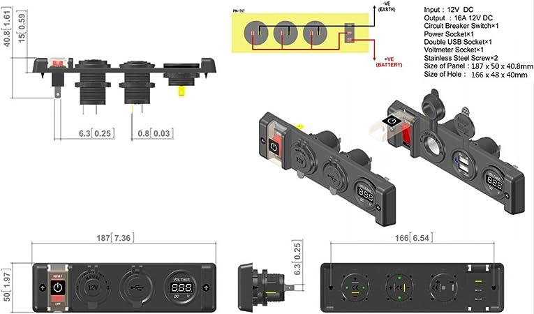Qiilu 12V Universel Voltm/ètre Allume-cigare Double USB Power Socket Commutateur Panneau Prise de Puissance Num/érique Voltm/ètre pour RV Car Boat
