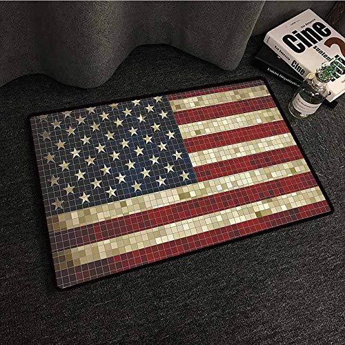 American Flag Washable Doormat Abstract Mosaic Flag of USA Grungy Design Square Shaped Illustration with Anti-Slip Support W35 xL59 Dark Blue Red Cream
