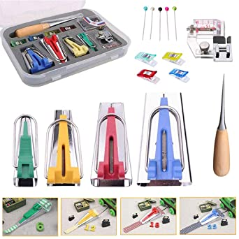 DOITOOL Fabric Bias Tape Maker 4 Piece Set Multifunctional Patchwork Sewing Accessories for Sewing Quilting Awl 6mm 12mm 18mm 25mm