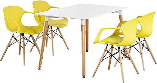 P&N Homewares – Conjunto Mesa Blanca + 4 sillas de Comedor ...