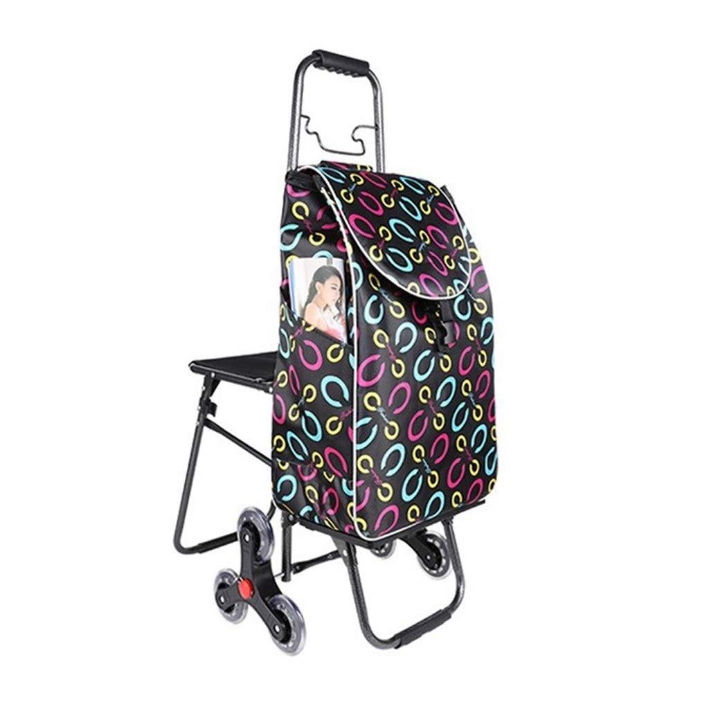 LLSDLS Foldable Shopping Trolley - Multi-Functional - Lightweight - Have A Stool Luggage Grocery Cart - Waterproof Cloth Bag