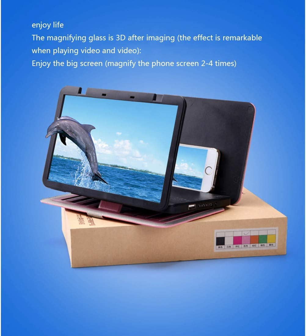GYTOO Phone Screen Magnifier 3D HD Phone Screen Magnifier Foldable Stand Movie and Video Stereoscopic Amplifying for All Smart Phones