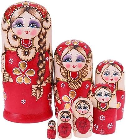 N/R 7 Piezas Trenzas Rojas muñecas Rusas Conjunto de Madera Artesanal Matryoshka artesanía Regalos, España: Amazon.es: Hogar