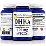 Pure DHEA – 100 mg Max Strength – 200 Capsules – Supports Balanced Hormone Levels for Women & Men, Healthy Metabolism, Libio, Brain, Immune Function & Energy