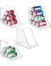 mDesign Pack de 4 Cajas organizadoras para la Cocina - Contenedores de plástico Ideales para los armarios o frigorífico - Botelleros apilables en Color Transparente de plástico Libre de BPA