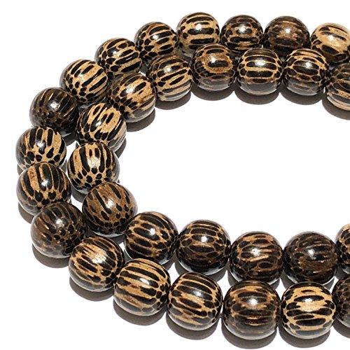 7mm Wood Round Beads - [ABCgems] Natural Patikan Hard Wood AKA Old Palmwood (Exquisite Wood Grain) Tiny 6-7mm Round Beads