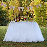 TUTU Table Skirt Tulle Tableware Queen Wonderland, Marry Acting Table Cloth Skirting for Christmas Wedding Party Baby Shower Birthday Cake Table Girl Princess Decor (White)