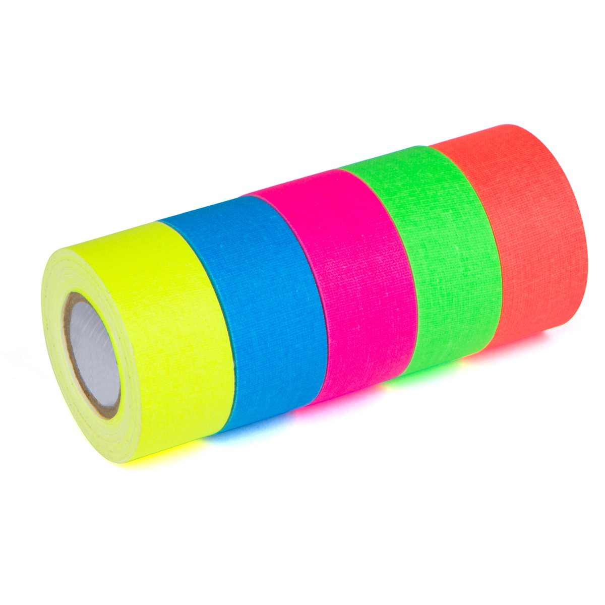 1 in x 18 ft - Wide 5-Pack UV Blacklight Reactive Fluorescent//Neon Party Tape