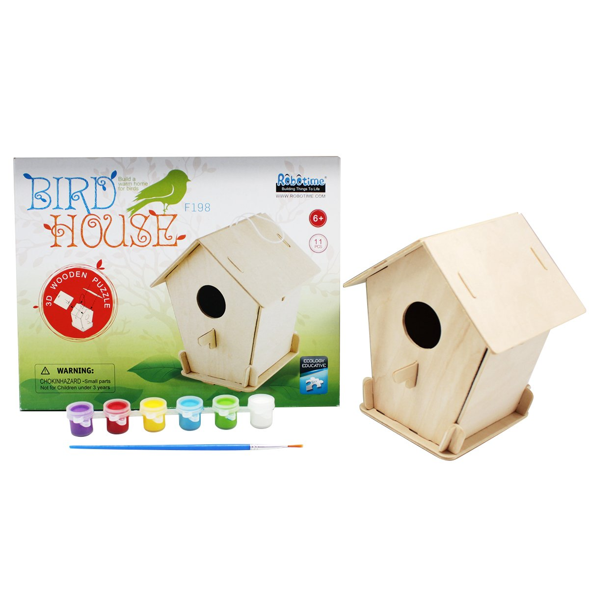 ROBUD Art Craft Wood Toys 3-D Painting Puzzle Bird House DIY Wooden Assembly Modle Building Kits with 6 Color Pigments /& Brush for Kid Children Educational Fun Creative Gifts